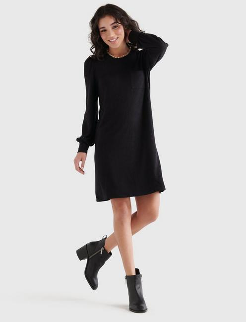 COZY KNIT RIB SLEEVE DRESS, 001 LUCKY BLACK