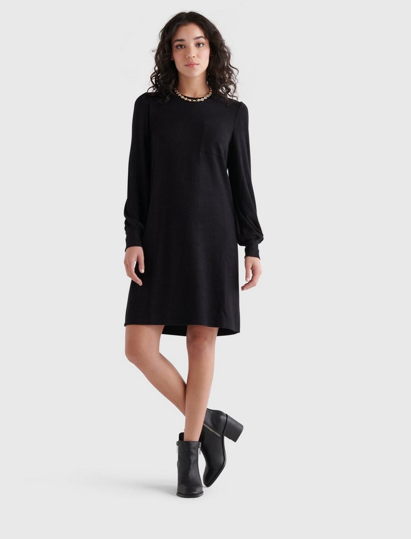 COZY KNIT RIB SLEEVE DRESS, image 2