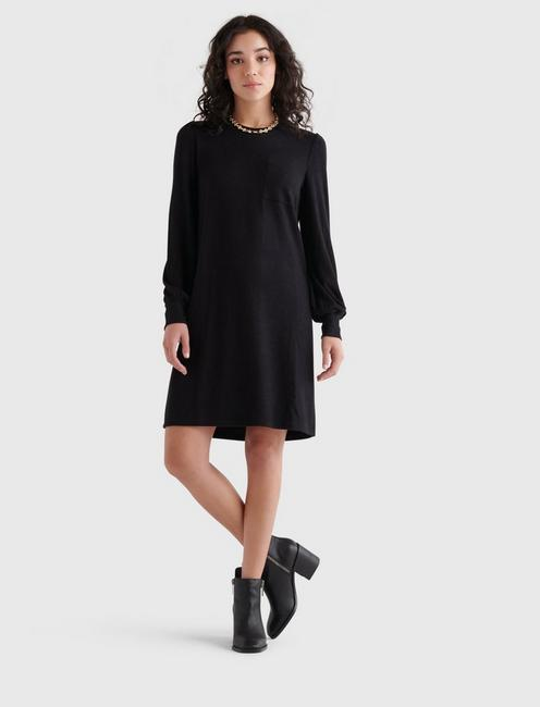 COZY KNIT RIB SLEEVE DRESS, 001 LUCKY BLACK