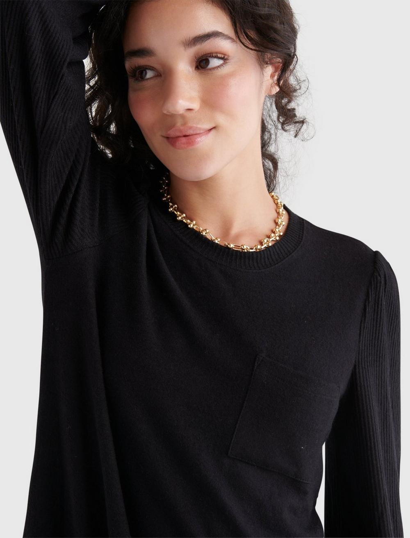 COZY KNIT RIB SLEEVE DRESS, image 5