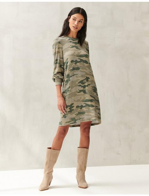 COZY KNIT PRINTED DRESS, GREEN MULTI