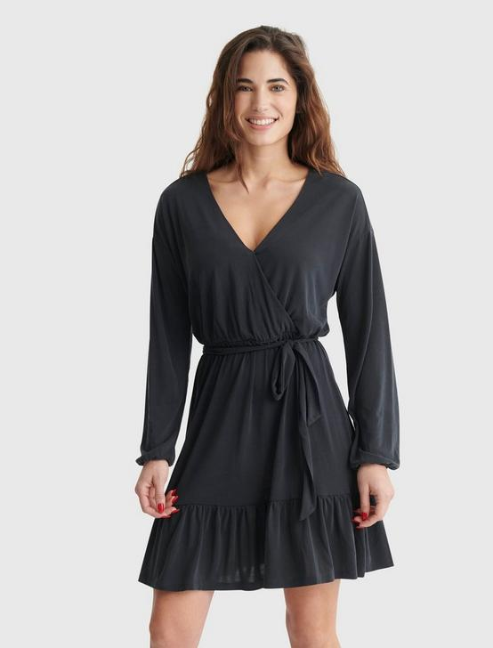 SANDWASH SURPLICE DRESS, 001 LUCKY BLACK, productTileDesktop
