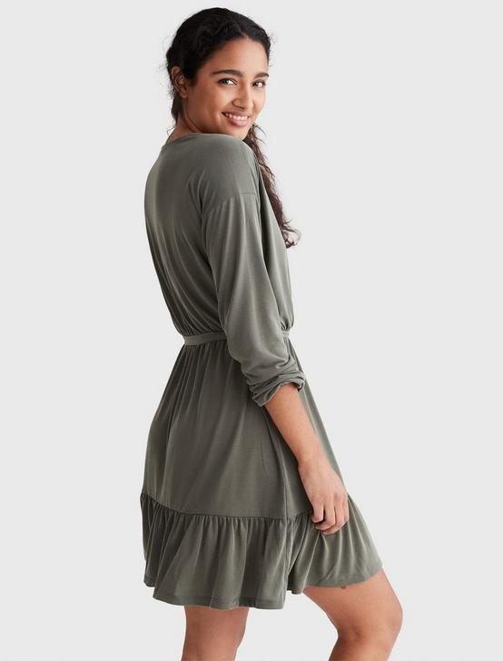 SANDWASH SURPLICE DRESS, OLIVE, productTileDesktop