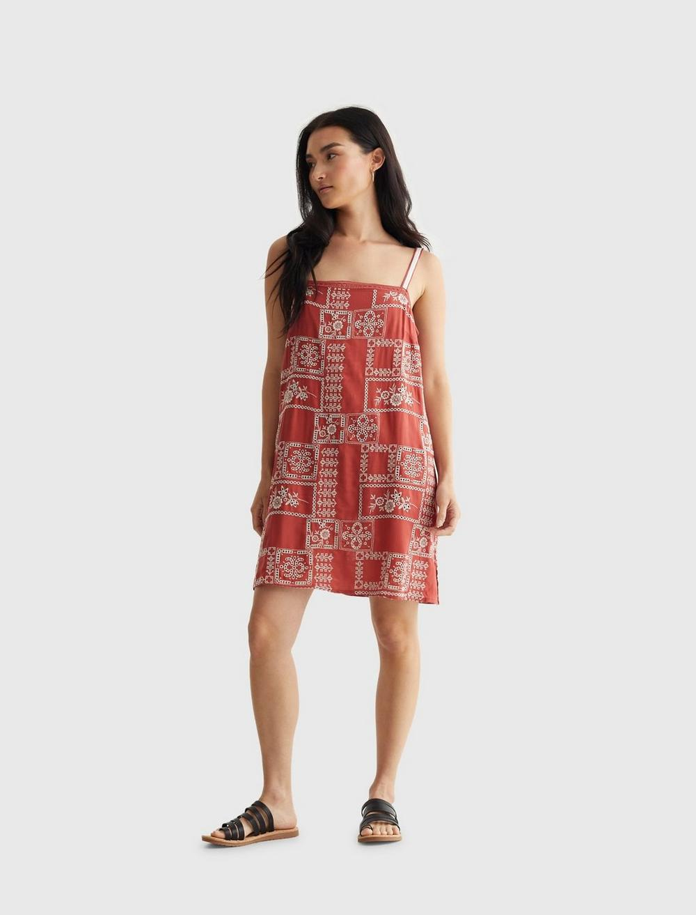 EMBROIDERED SQUARE NECK CAMI DRESS, image 1