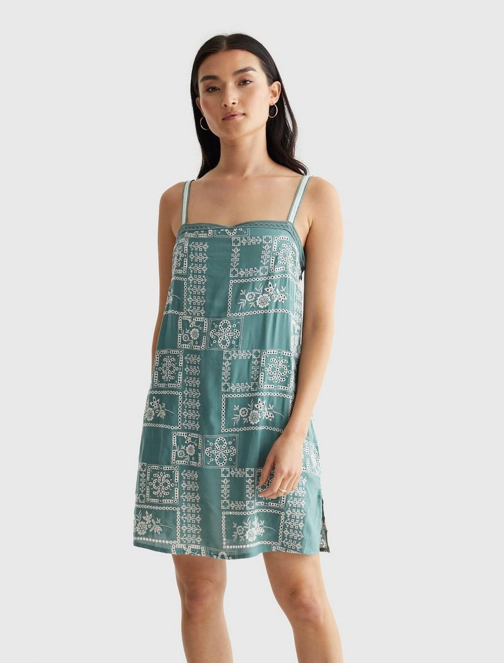 EMBROIDERED SQUARE NECK CAMI DRESS, image 2