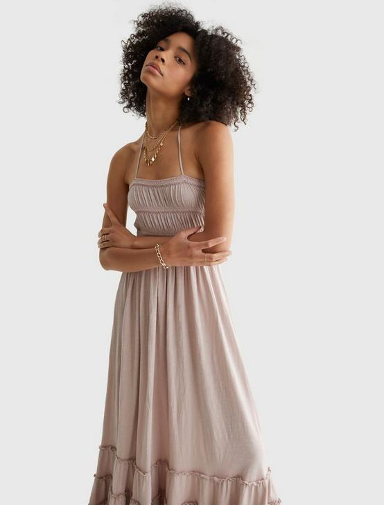 BOHO KNIT MAXI DRESS, BRANDIED APRICOT, productTileDesktop