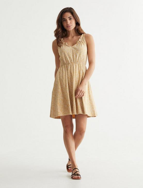 SLEEVELESS BABYDOLL DRESS, YELLOW MULTI, productTileDesktop