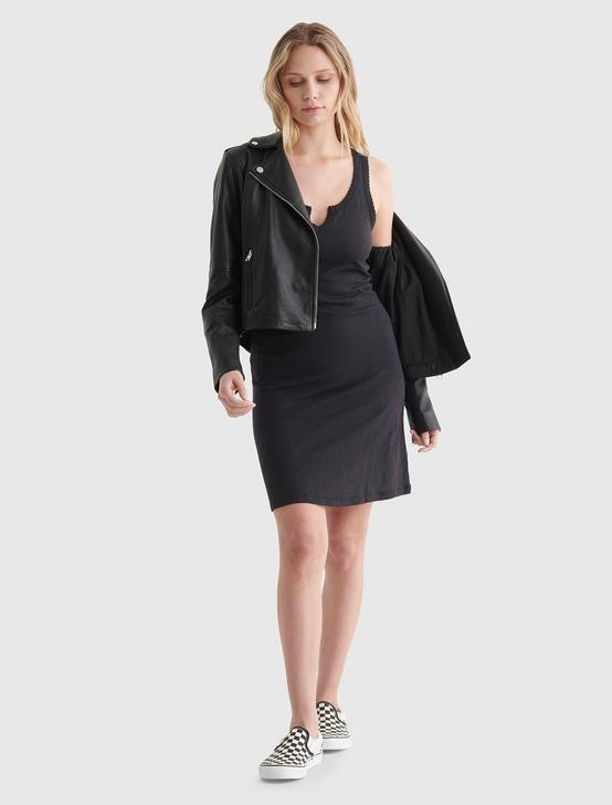 SCALLOP NOTCH MIDI DRESS, JET BLACK, productTileDesktop