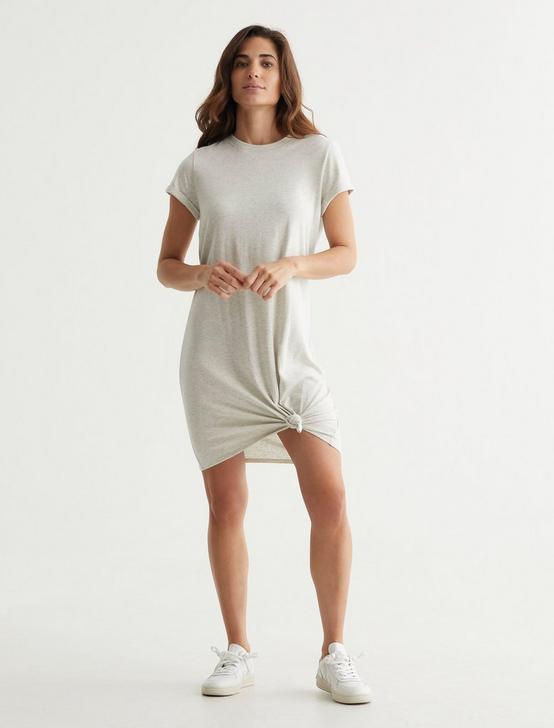 TWIST FRONT SHIRT DRESS, LIGHT HEATHER GREY (B03), productTileDesktop