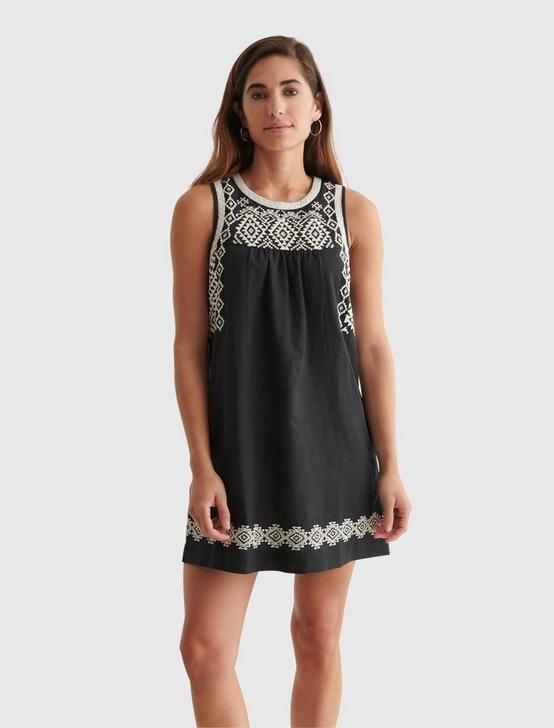 EMBROIDERED SLEEVLESS DRESS, JET BLACK, productTileDesktop