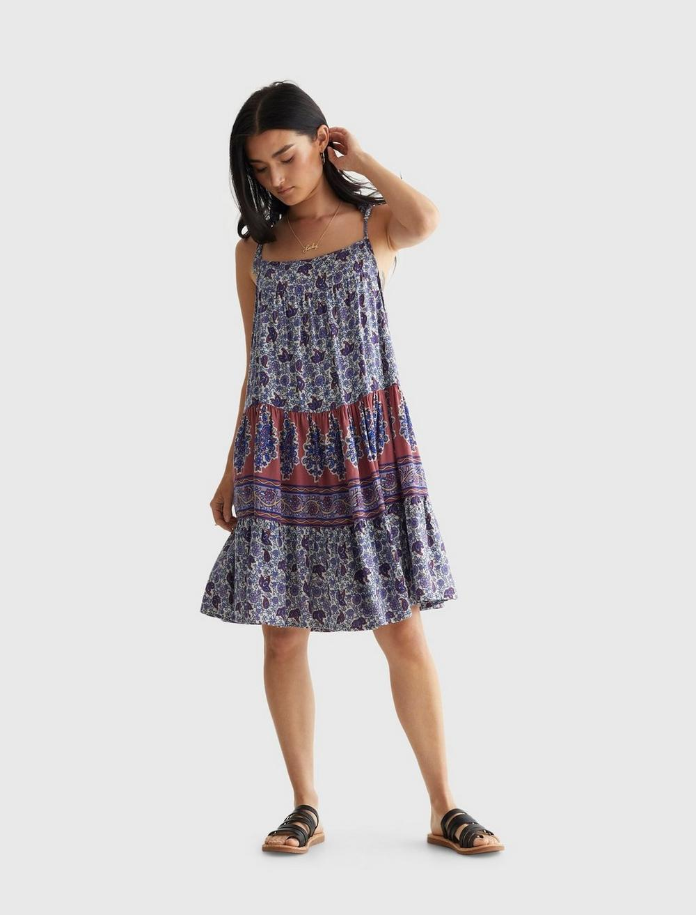 PRINTED TIERED CAMI DRESS, image 1
