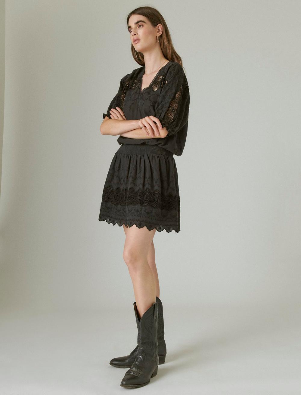 EYELET DROP WAIST MINI DRESS, image 2