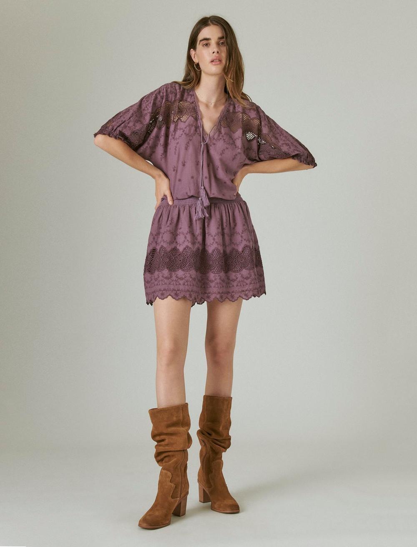 EYELET DROP WAIST MINI DRESS, image 1
