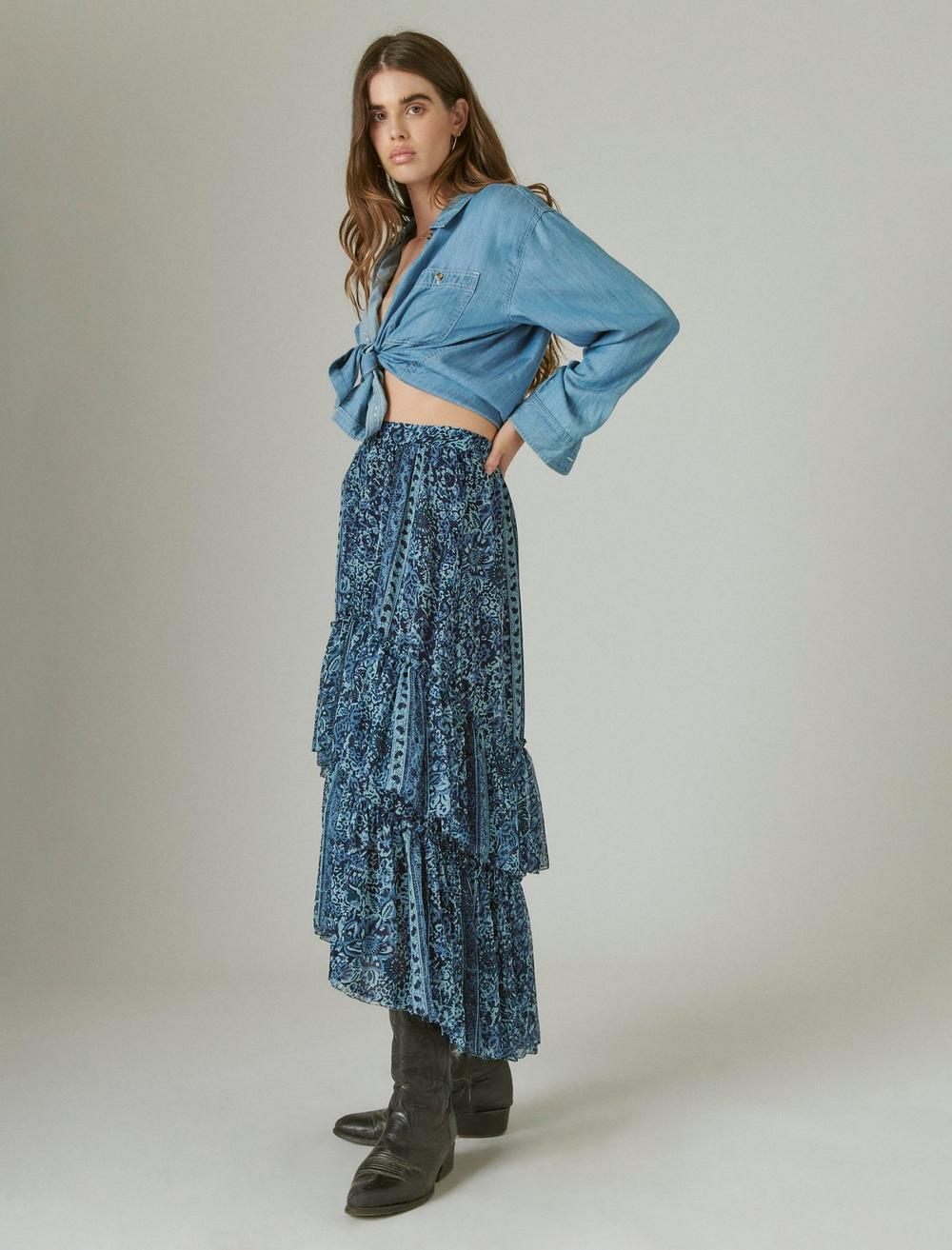 FLORAL PRINT TIERED MAXI SKIRT, image 2