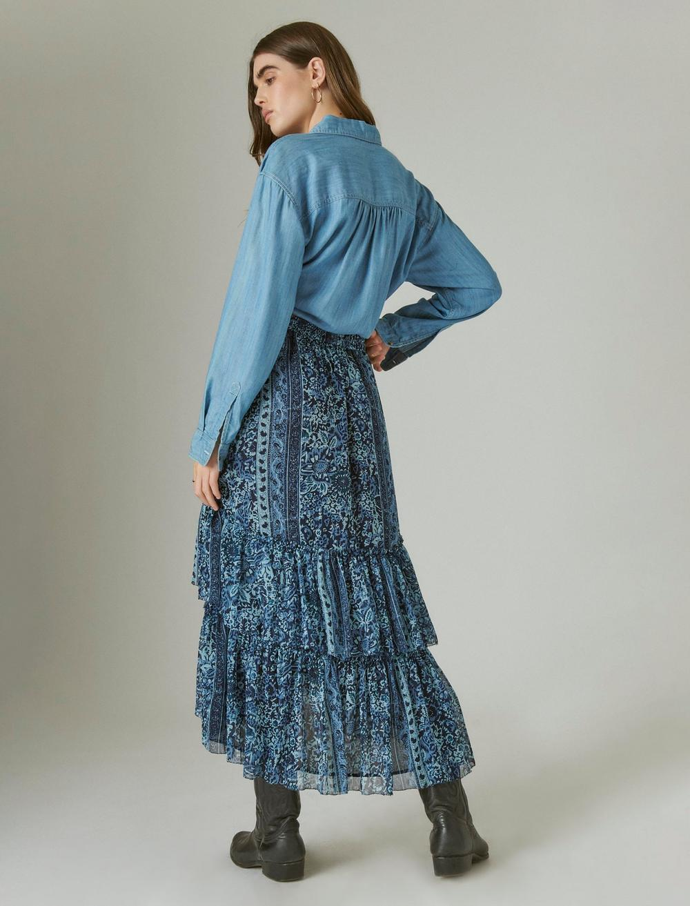 FLORAL PRINT TIERED MAXI SKIRT, image 3