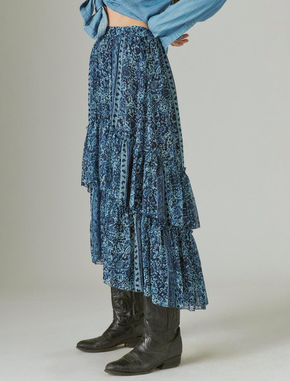 FLORAL PRINT TIERED MAXI SKIRT, image 5
