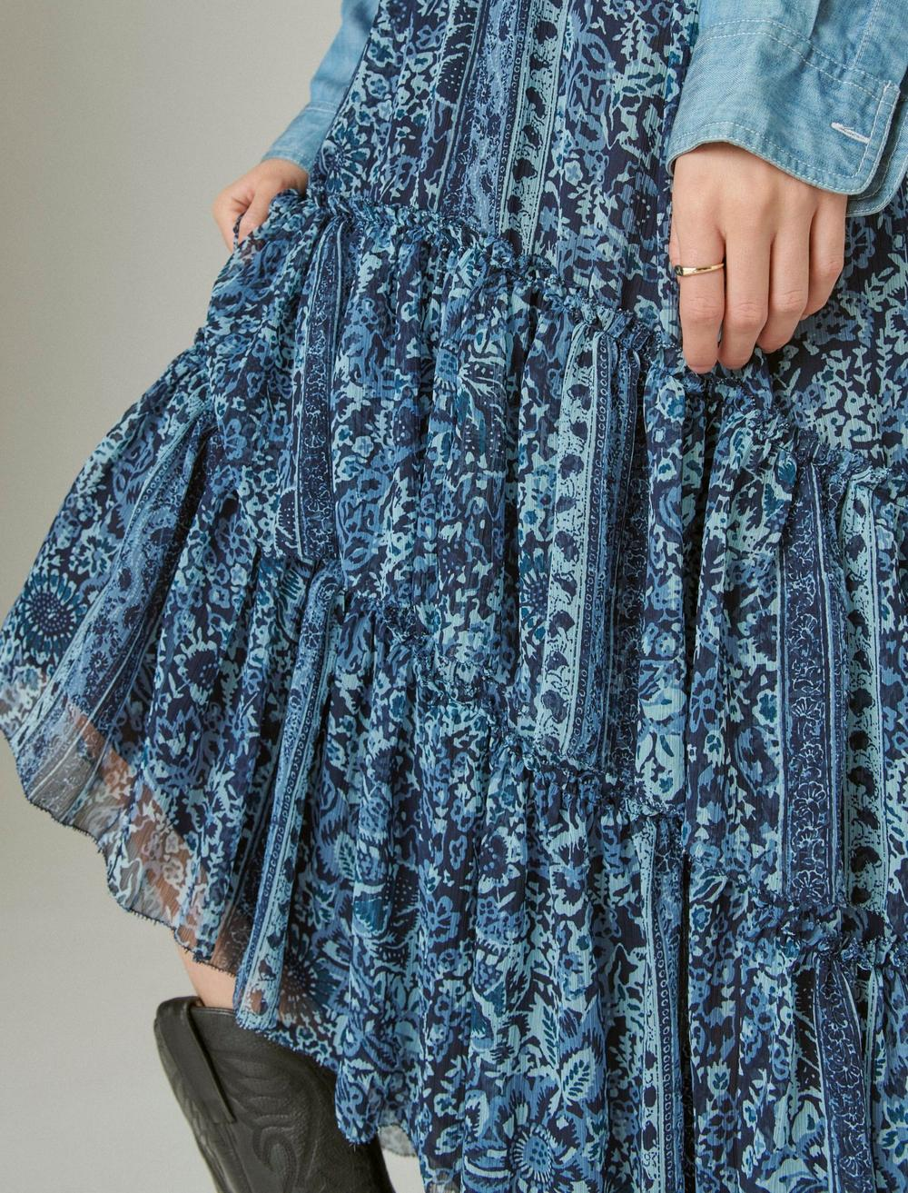 FLORAL PRINT TIERED MAXI SKIRT, image 6