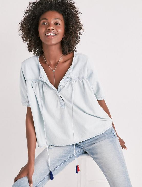 SHIRRED BUTTON FRONT CHAMBRAY SHIRT, PELICAN LAKE, productTileDesktop