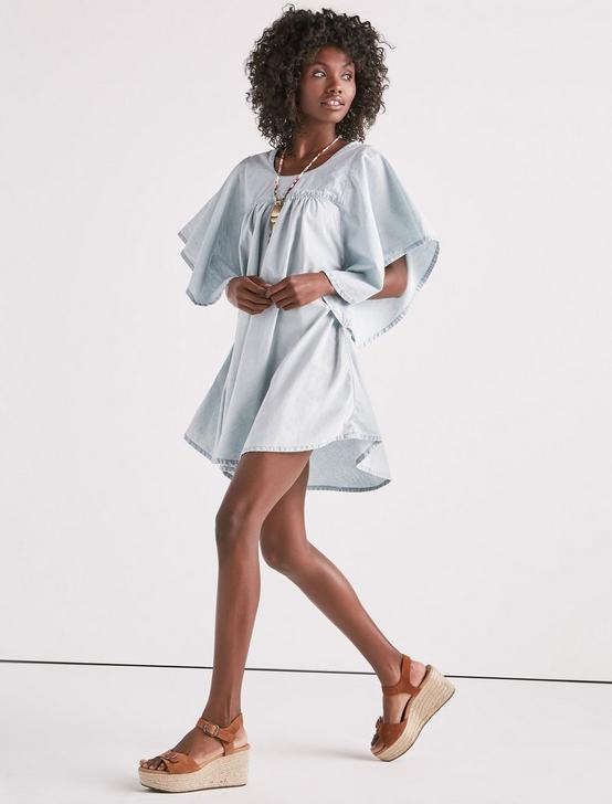 SHIRRED CHAMBRAY DRESS, PELICAN LAKE, productTileDesktop
