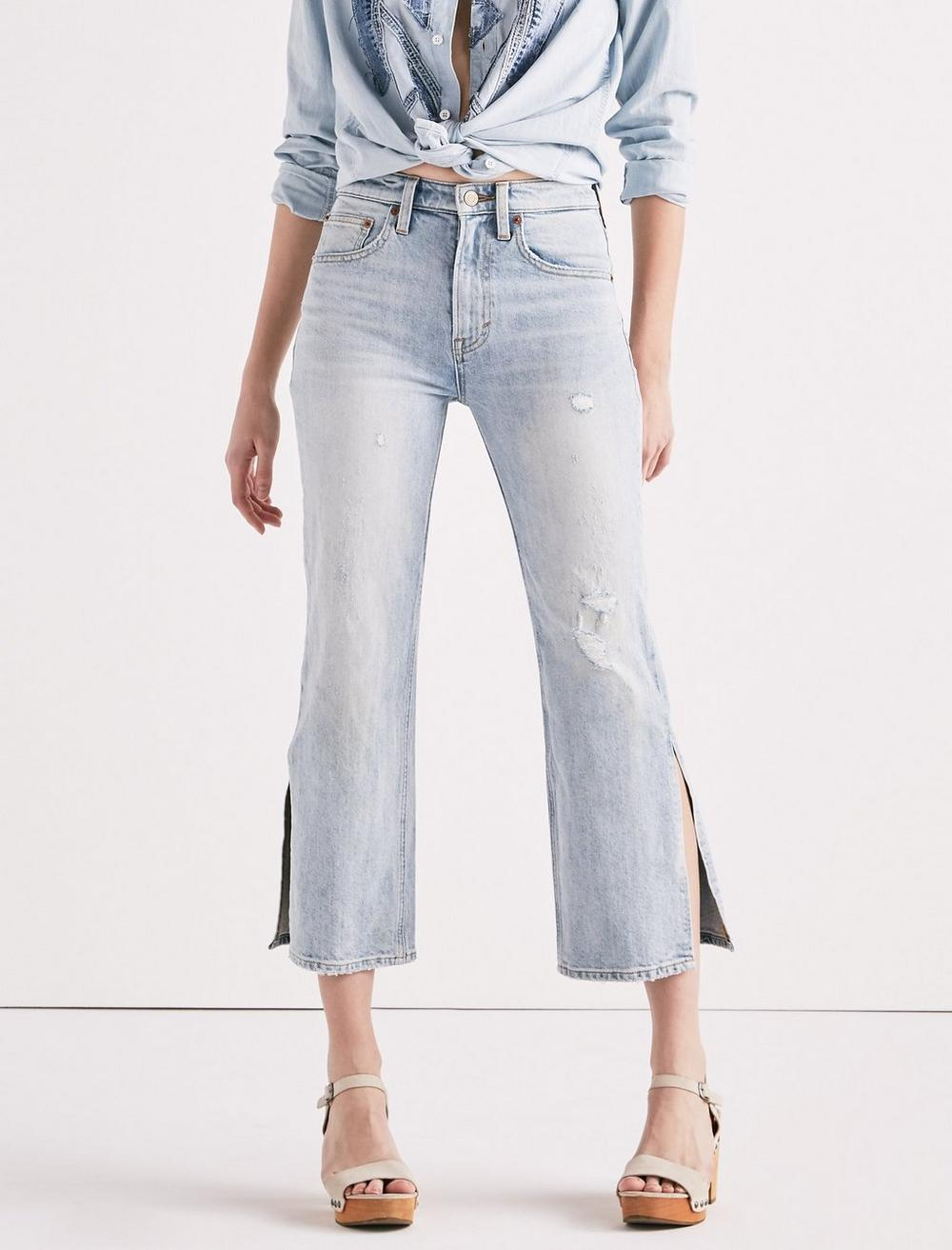 LUCKY PINS HIGH RISE SIDE SLIT JEAN IN MIRA MAR, image 1