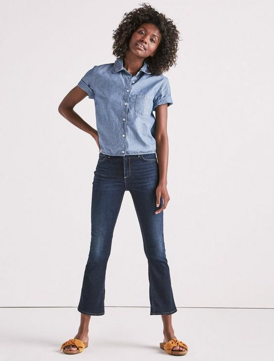 CHAMBRAY TIED BUTTON UP SHIRT, HOLLY GLEN, productTileDesktop