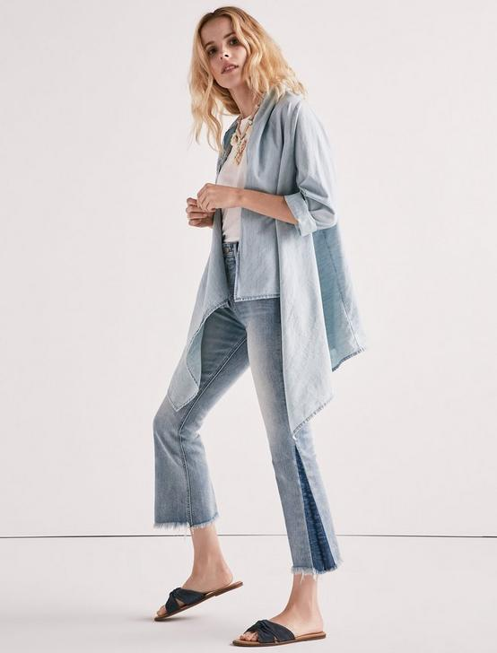 KNOTTED & DRAPED CHAMBRAY TOP, MYRTLE, productTileDesktop