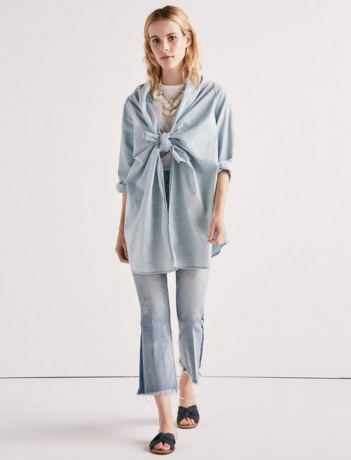 KNOTTED & DRAPED CHAMBRAY TOP, MYRTLE