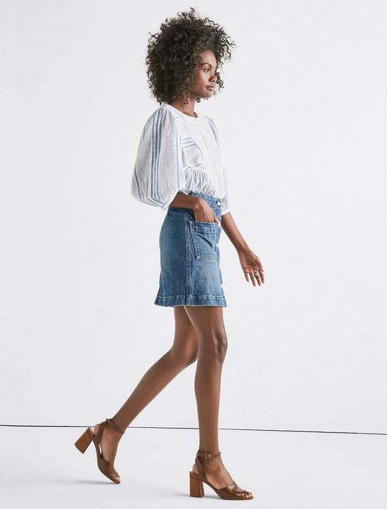 Denim A Line Skirt, KAUFMAN, productTileDesktop