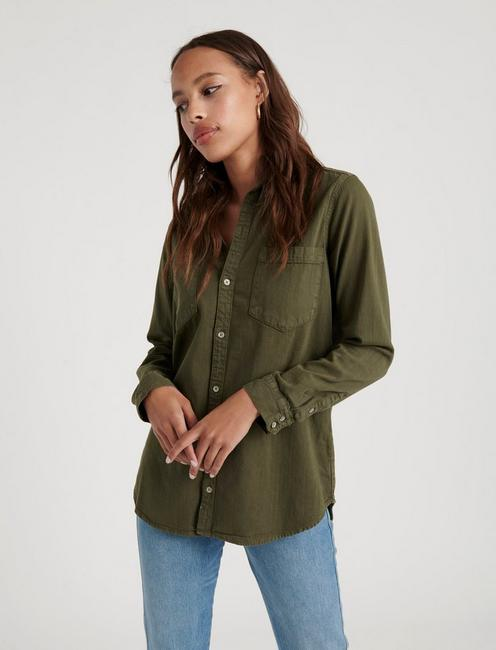 BOYFRIEND SHIRT, GRAPE LEAF