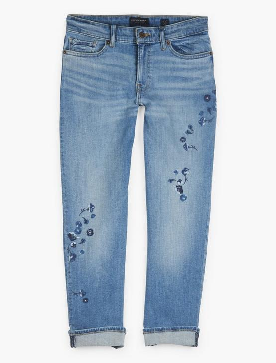Mid Rise Sweet Crop Embroidered Jean
