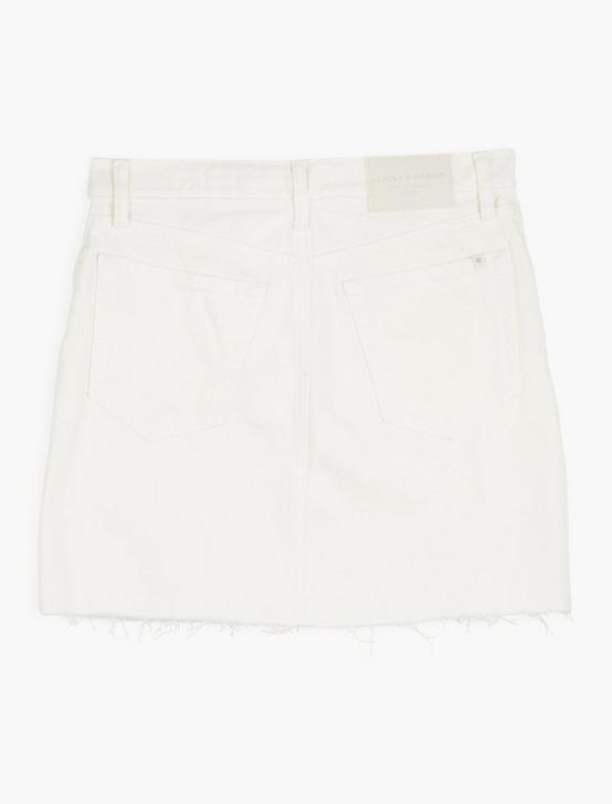 OLD FAVORITE MINI SKIRT W/ EXPOSED BUTTON FLY, CLEAN WHITE CT FLY, productTileDesktop