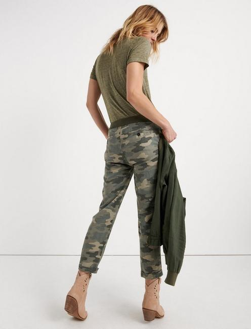 PULL ON LINEN PANT, OLIVE MULTI