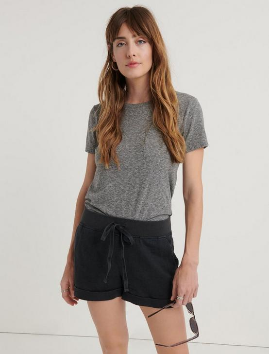 PULL ON LINEN SHORT, WASHED BLACK, productTileDesktop