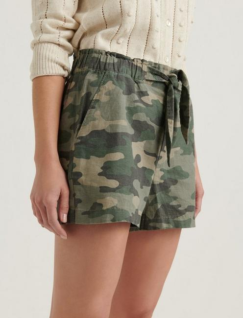 TIE FRONT SHORT, OLIVE MULTI