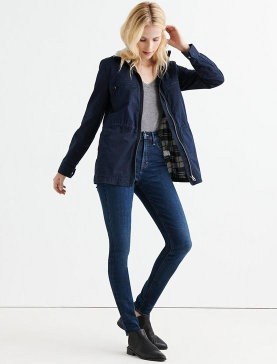 SHERPA COLLAR MADDIE UTILITY JACKET, DARK NAVY, productTileDesktop