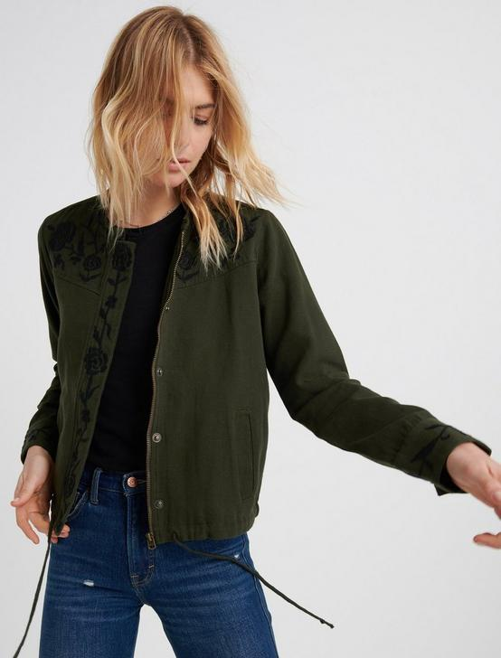EMBROIDERED UTILITY JACKET, OLIVE, productTileDesktop