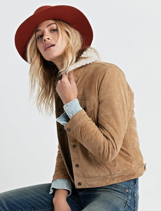 SHEARLING COLLAR TRUCKER, DIJON, productTileDesktop