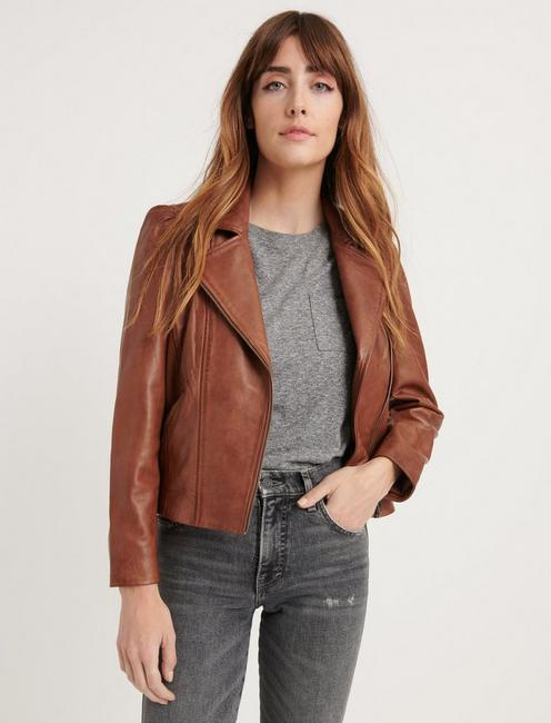 PUFF SLEEVE LEATHER MOTO JACKET, SADDLE