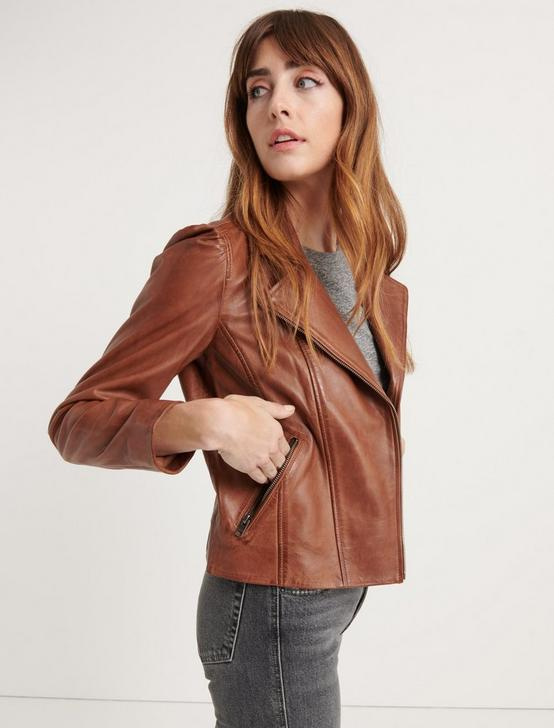 PUFF SLEEVE  MOTO JACKET, SADDLE, productTileDesktop