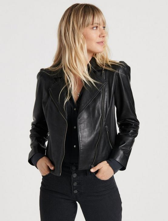 PUFF SLEEVE MOTO JACKET, 001 LUCKY BLACK, productTileDesktop