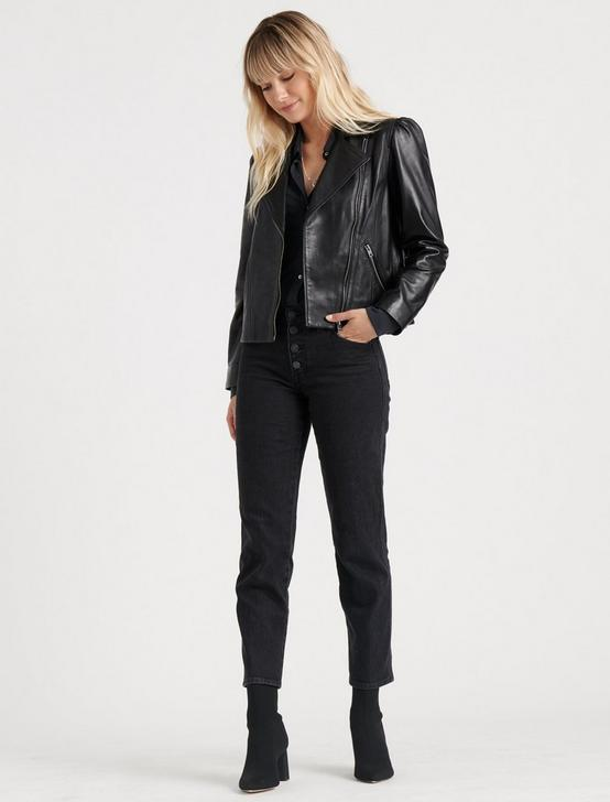 PUFF SLEEVE LEATHER MOTO JACKET, 001 LUCKY BLACK, productTileDesktop