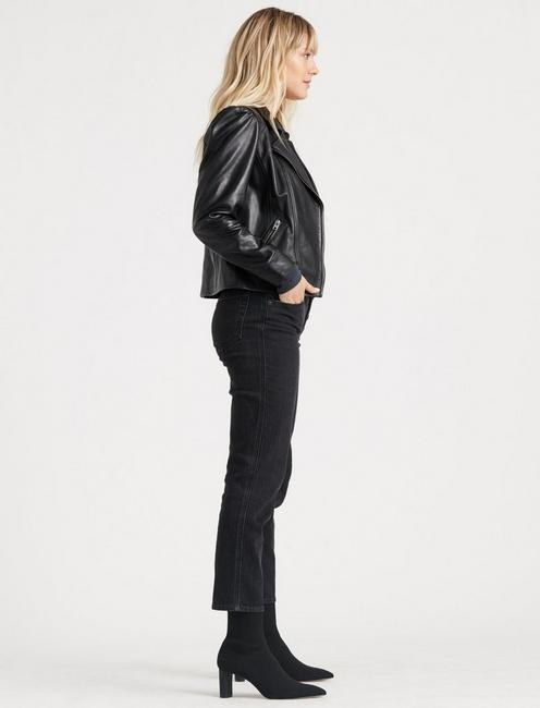PUFF SLEEVE LEATHER MOTO JACKET, 001 LUCKY BLACK