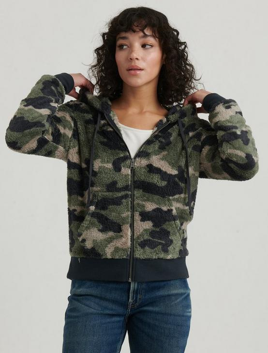 CAMO ZIP UP HOODIE, GREEN MULTI, productTileDesktop