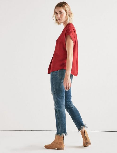 DRAPED SHIRT, RIO RED