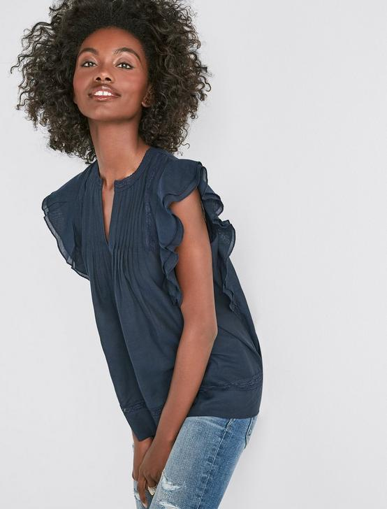 SLEEVELESS SOLID PINTUCK TOP, AMERICAN NAVY, productTileDesktop