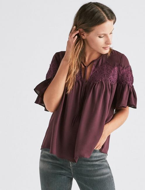 SHORT SLEEVE LACE TOP,