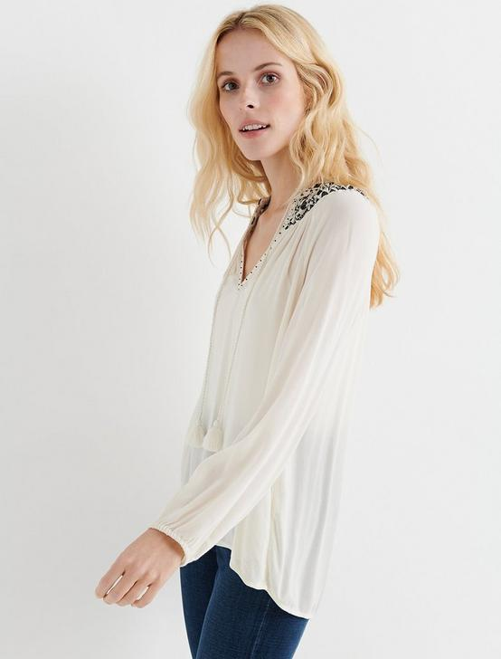 EMBROIDERED PEASANT TOP, BIRCH, productTileDesktop