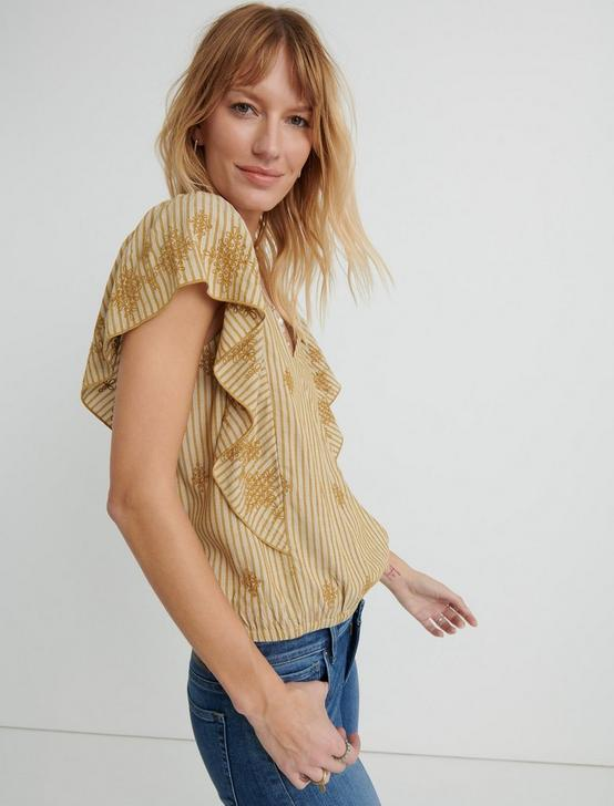 CROSS OVER FLUTTER SLEEVE TOP, YELLOW MULTI, productTileDesktop