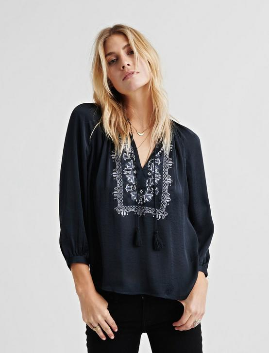 EMBROIDERED SATIN TOP, 001 LUCKY BLACK, productTileDesktop