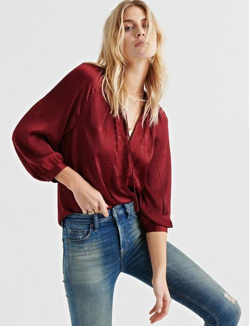 EMBROIDERED SATIN TOP, CABERNET #19-1724 TCX